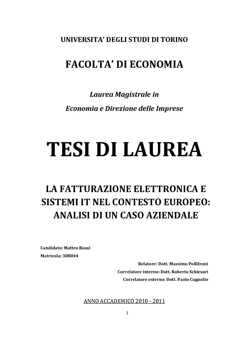 Anteprima della tesi: La Fatturazione Elettronica e Sistemi IT Nel Contesto Europeo: Analisi di un caso aziendale, Pagina 1