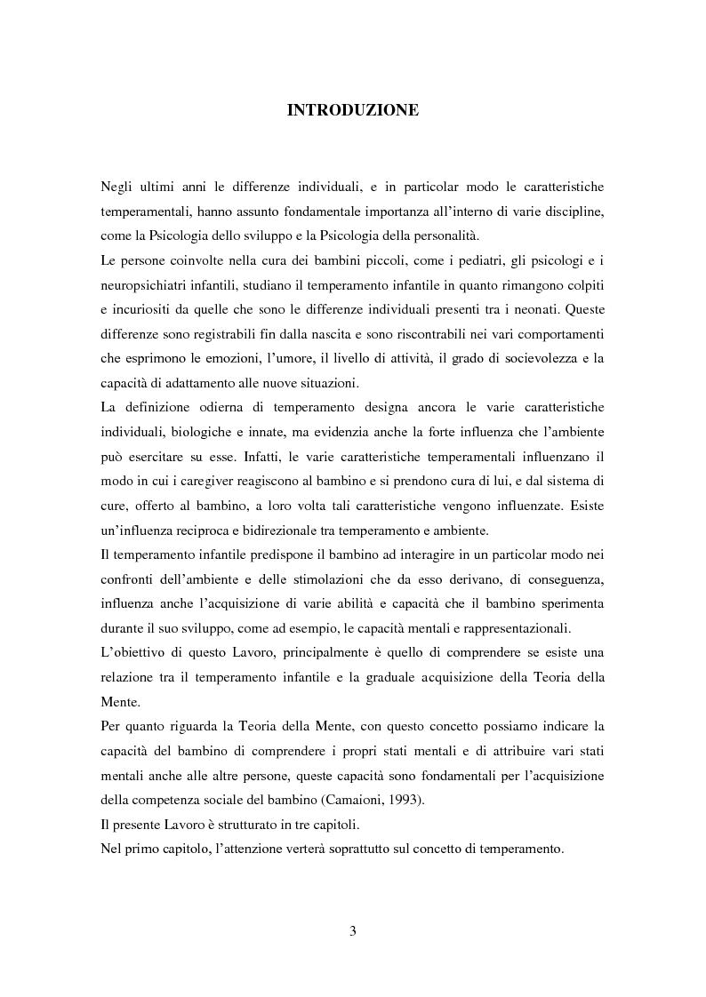 Anteprima della tesi: Differenze individuali e Teoria della Mente: il ruolo del Temperamento, Pagina 2