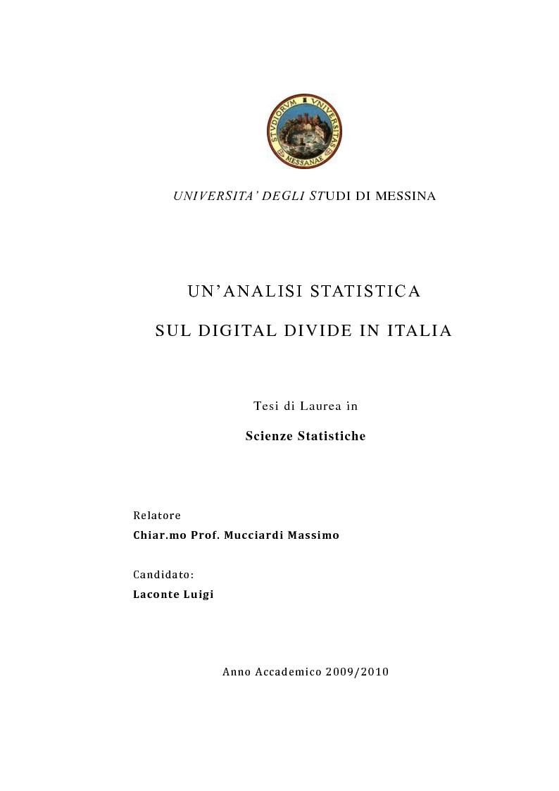 Anteprima della tesi: Un'analisi statistica sul Digital Divide in Italia, Pagina 1