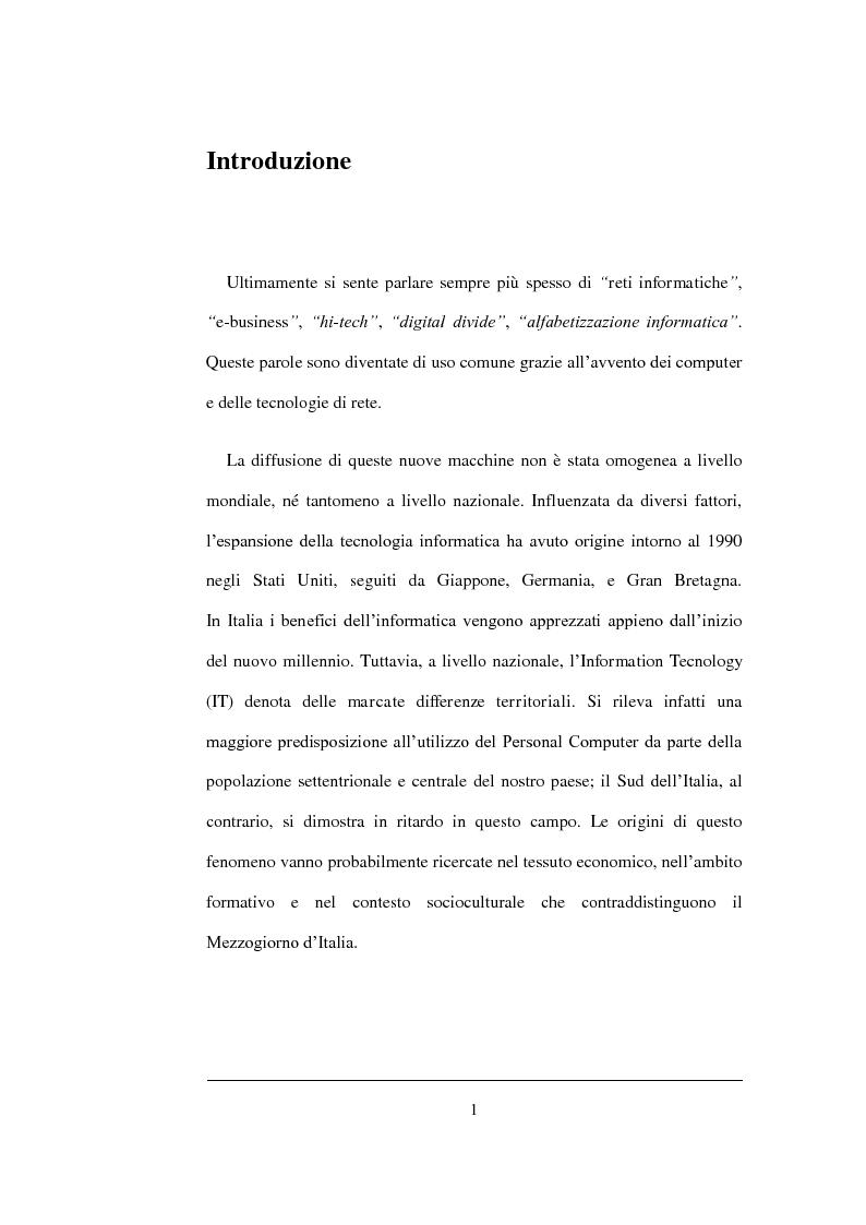 Anteprima della tesi: Un'analisi statistica sul Digital Divide in Italia, Pagina 2