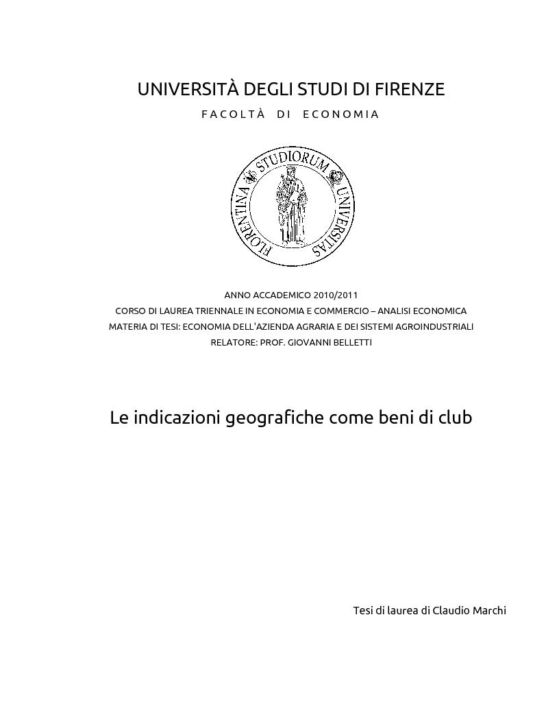 Anteprima della tesi: Le indicazioni geografiche come beni di club, Pagina 1