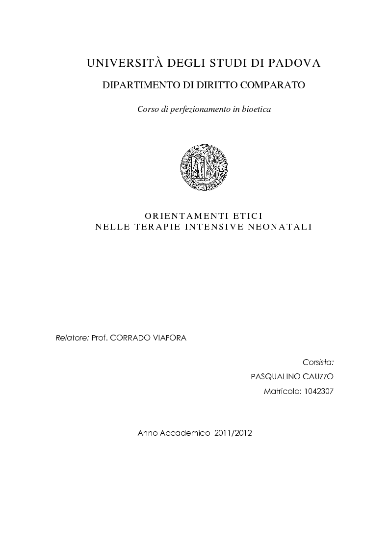 Anteprima della tesi: Orientamenti etici nelle terapie intensive neonatali, Pagina 1