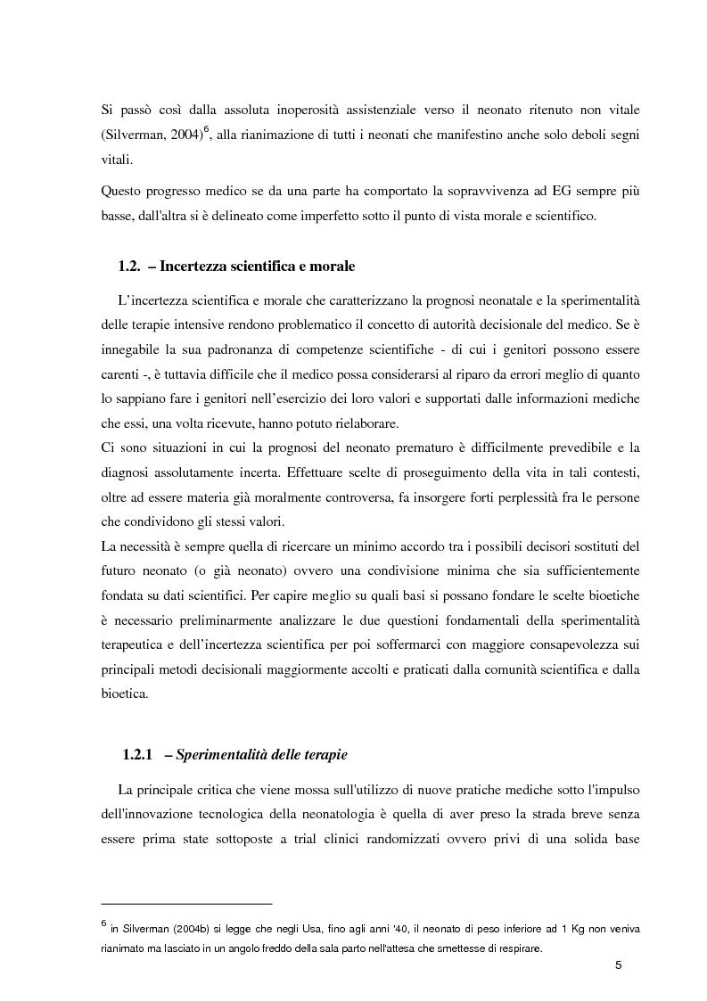 Anteprima della tesi: Orientamenti etici nelle terapie intensive neonatali, Pagina 3