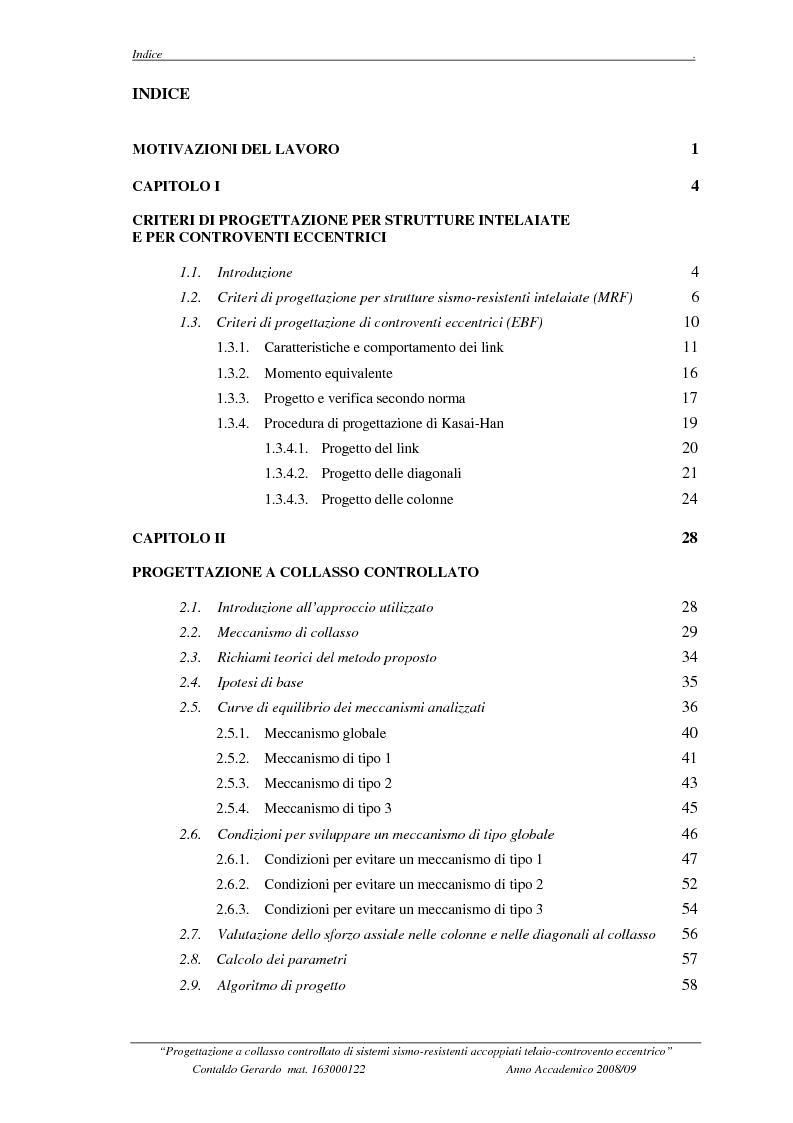 Indice della tesi: Progettazione a collasso controllato di sistemi sismo-resistenti accoppiati telaio- controvento eccentrico, Pagina 1