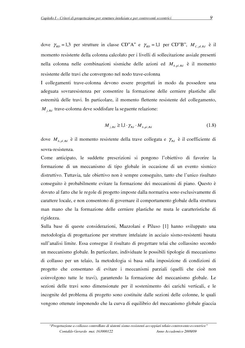 Anteprima della tesi: Progettazione a collasso controllato di sistemi sismo-resistenti accoppiati telaio- controvento eccentrico, Pagina 10