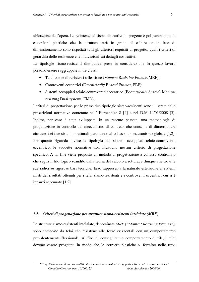 Anteprima della tesi: Progettazione a collasso controllato di sistemi sismo-resistenti accoppiati telaio- controvento eccentrico, Pagina 7