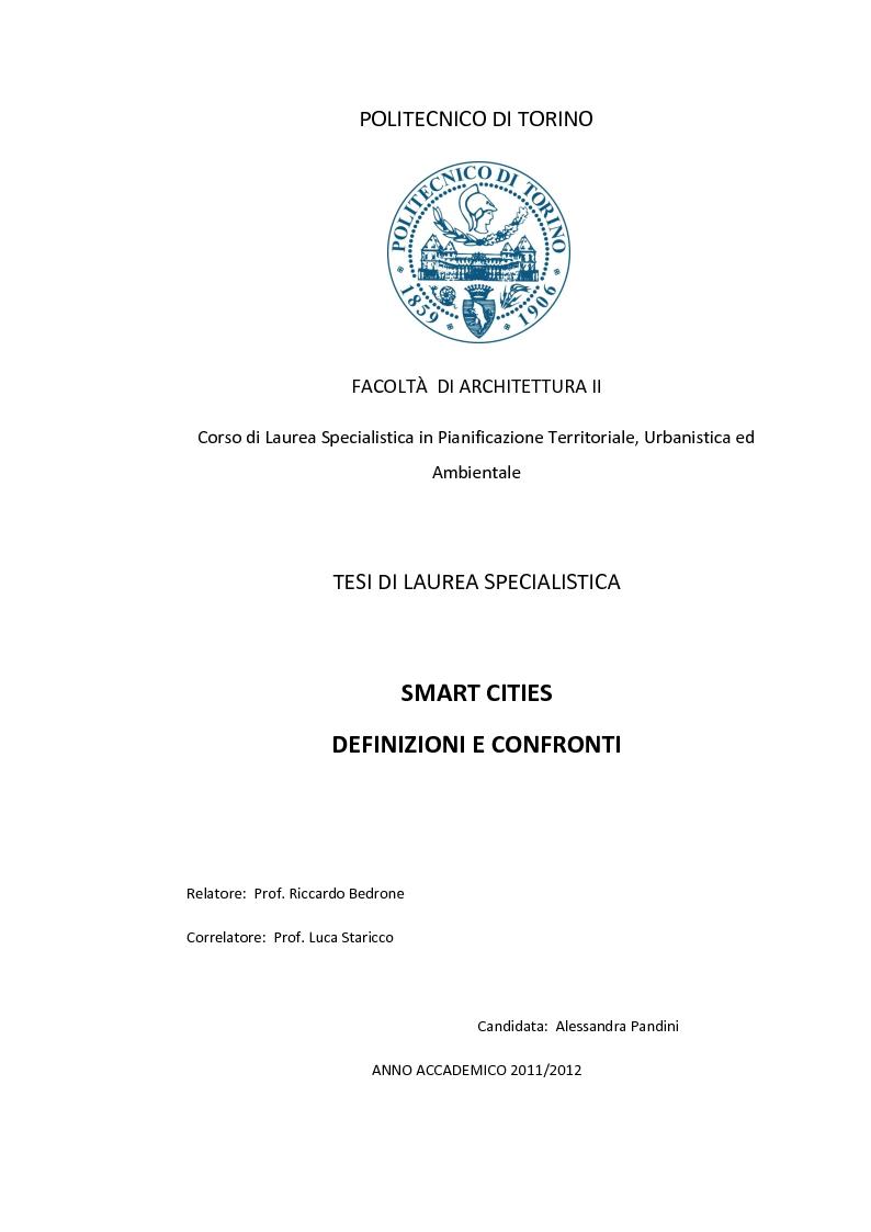 Anteprima della tesi: Smart Cities. Definizioni e confronti, Pagina 1