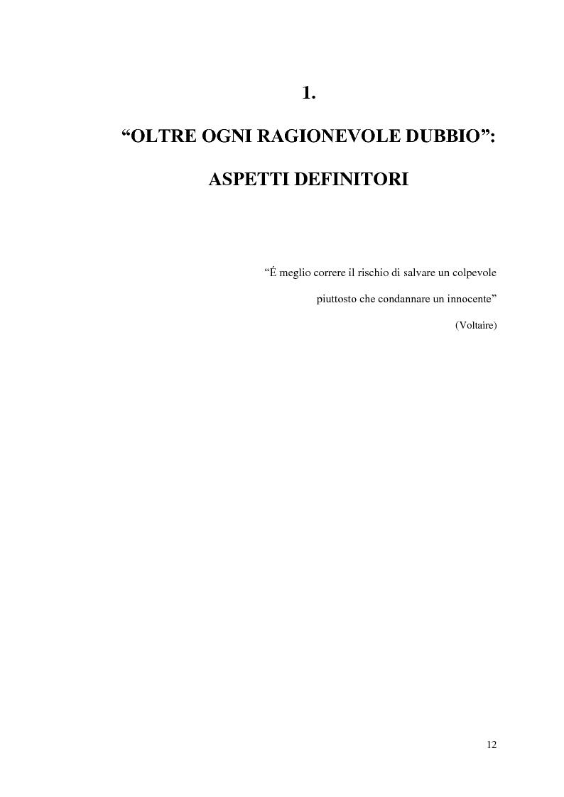 Anteprima della tesi: ''Oltre ogni ragionevole dubbio'' filosofia e fenomenologia del processo penale, Pagina 11