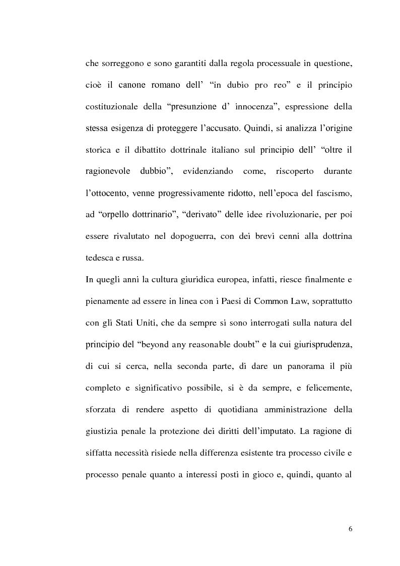 Anteprima della tesi: ''Oltre ogni ragionevole dubbio'' filosofia e fenomenologia del processo penale, Pagina 5
