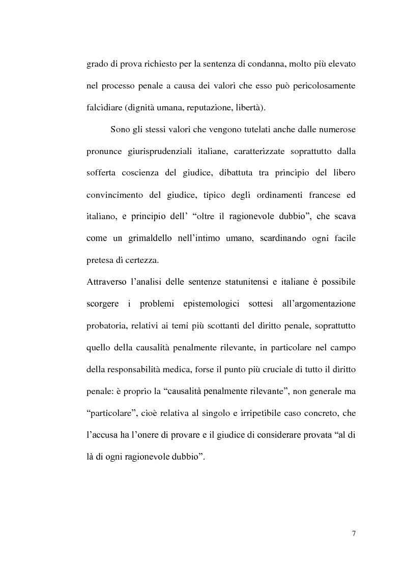 Anteprima della tesi: ''Oltre ogni ragionevole dubbio'' filosofia e fenomenologia del processo penale, Pagina 6
