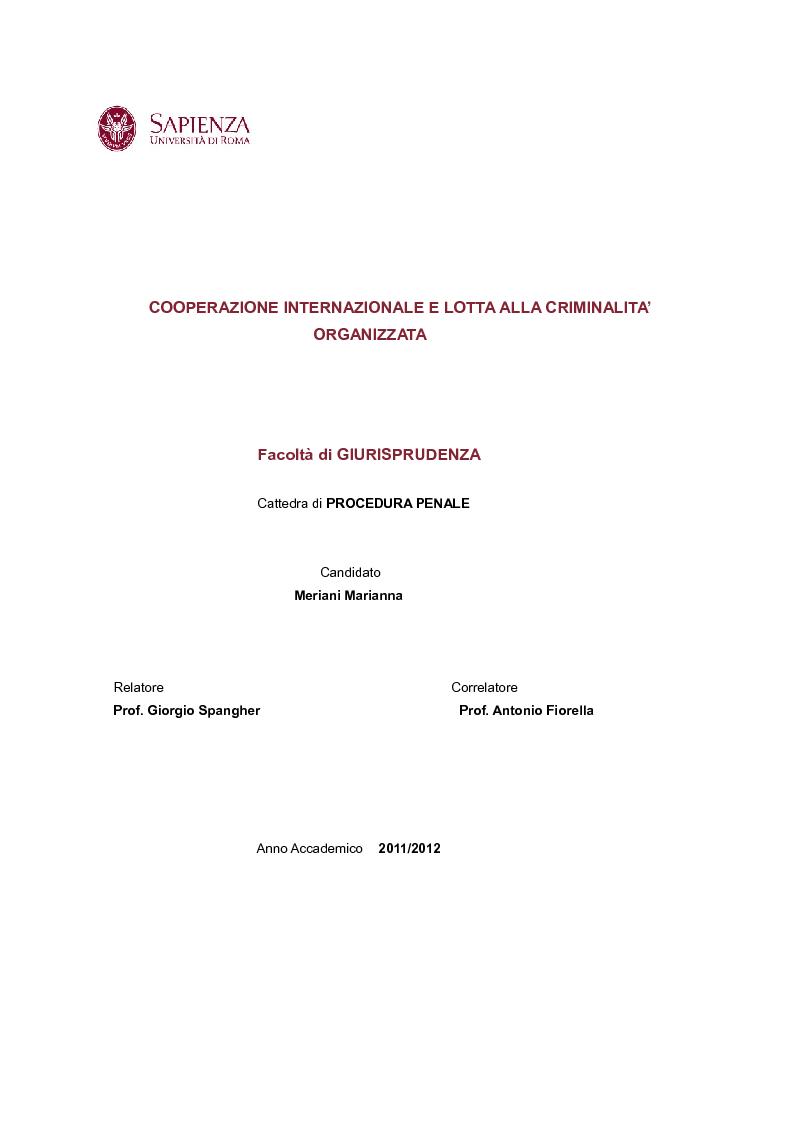 Anteprima della tesi: Cooperazione Internazionale e lotta alla criminalità organizzata, Pagina 1