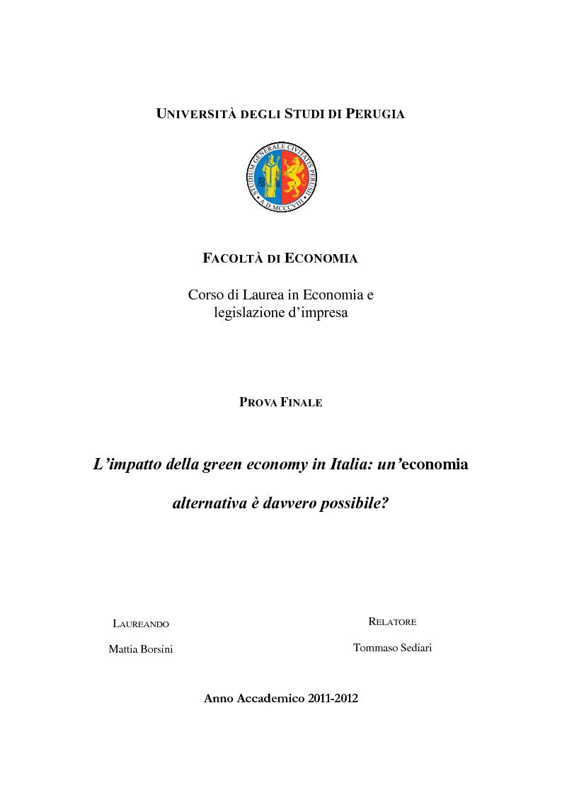 Anteprima della tesi: L'impatto della green economy in Italia: un'economia alternativa è davvero possibile?, Pagina 1