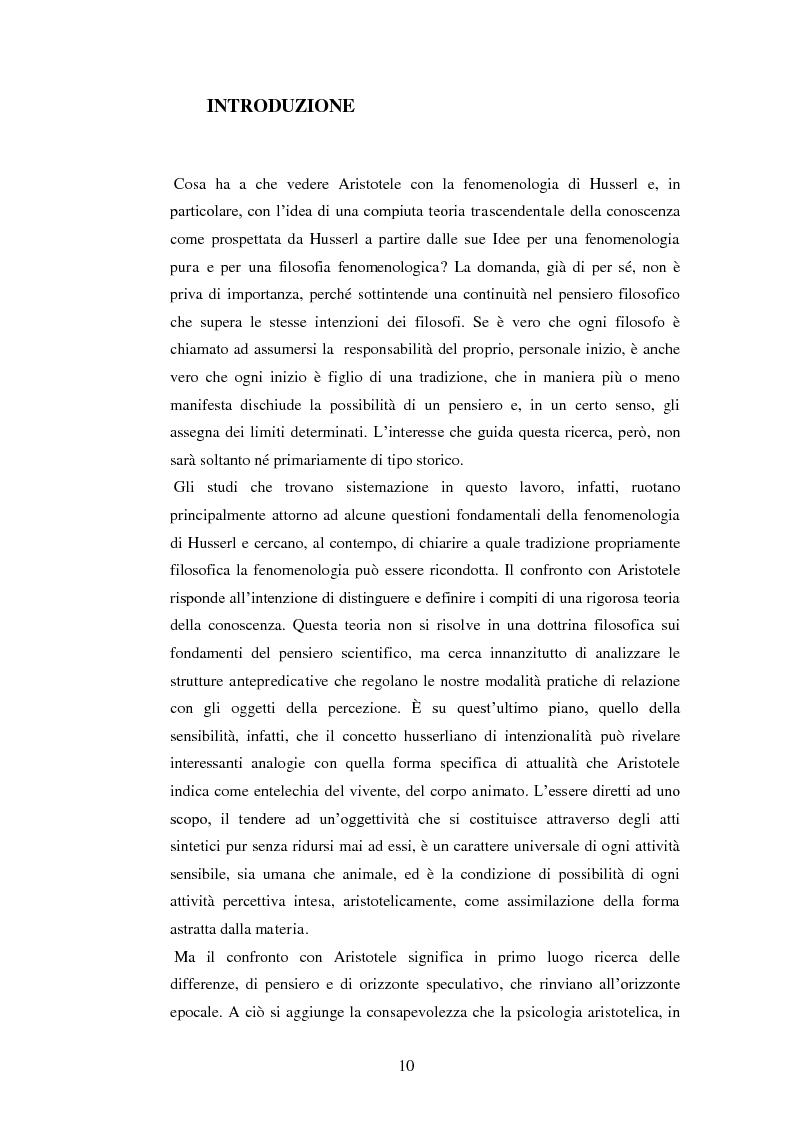 Anteprima della tesi: Entelechia, intenzionalità e costituzione dell'oggetto: una lettura fenomenologica, Pagina 2