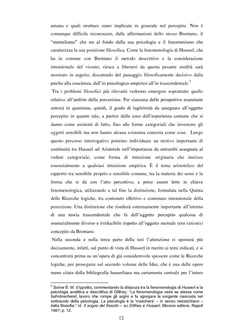 Anteprima della tesi: Entelechia, intenzionalità e costituzione dell'oggetto: una lettura fenomenologica, Pagina 4