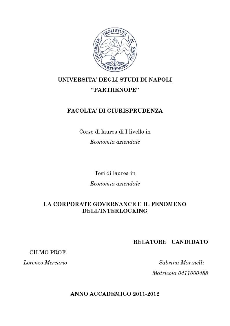 Anteprima della tesi: La corporate governance e il fenomeno dell'interlocking, Pagina 1