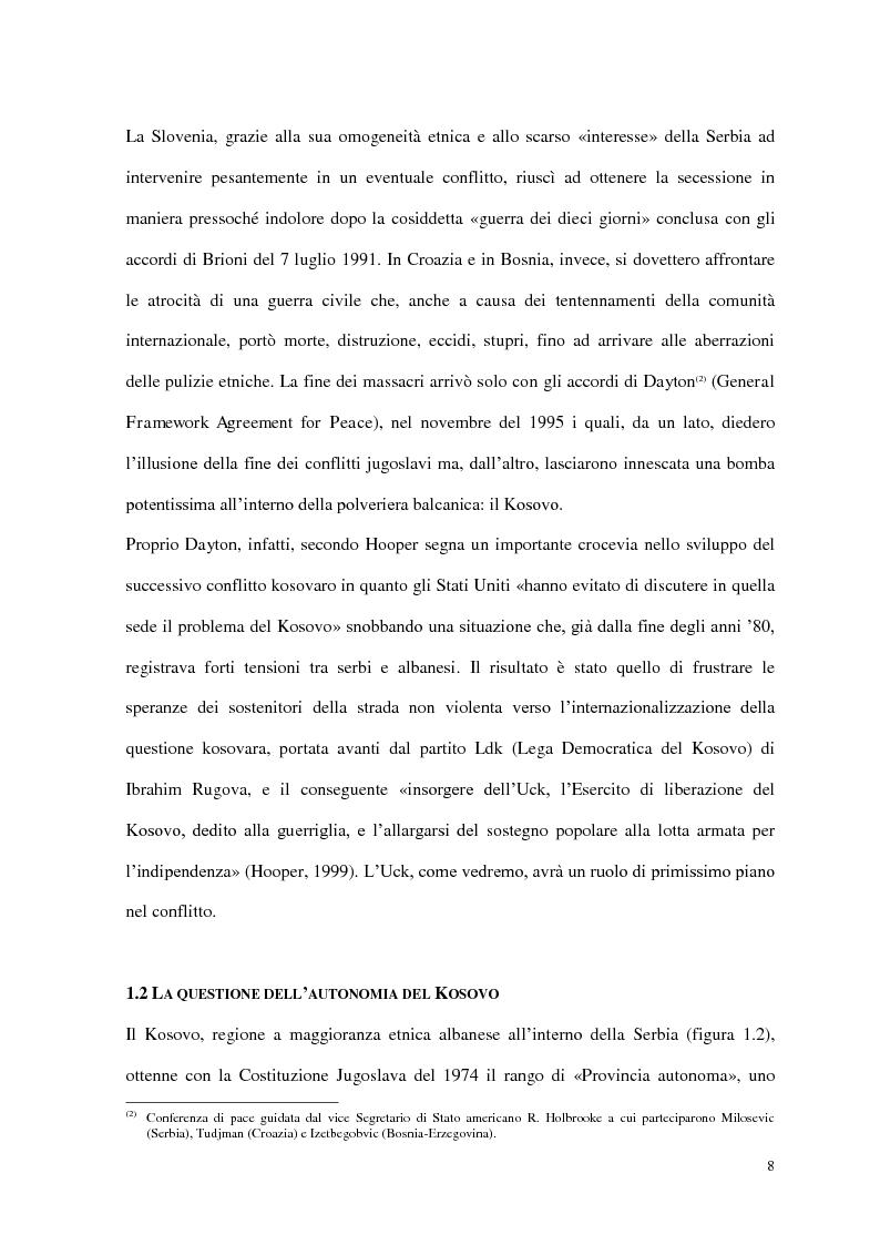 Anteprima della tesi: Il ruolo delle Organizzazioni Internazionali nella disgregazione della Jugoslavia: genesi, sviluppo e legittimità dell'intervento Nato in Kosovo., Pagina 6