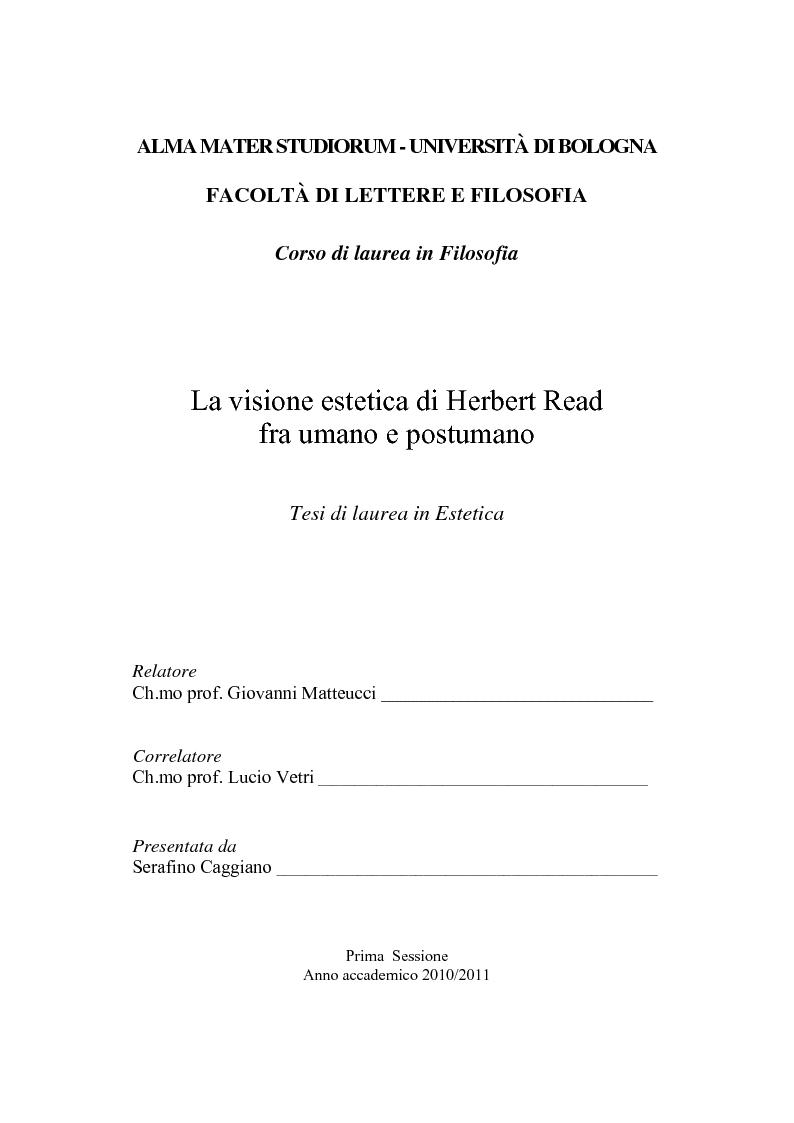 Anteprima della tesi: La visione estetica di Herbert Read fra umano e postumano, Pagina 1