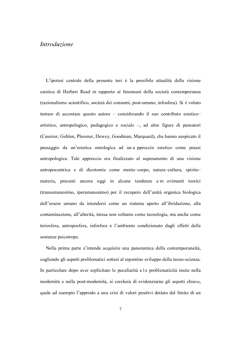 Anteprima della tesi: La visione estetica di Herbert Read fra umano e postumano, Pagina 2