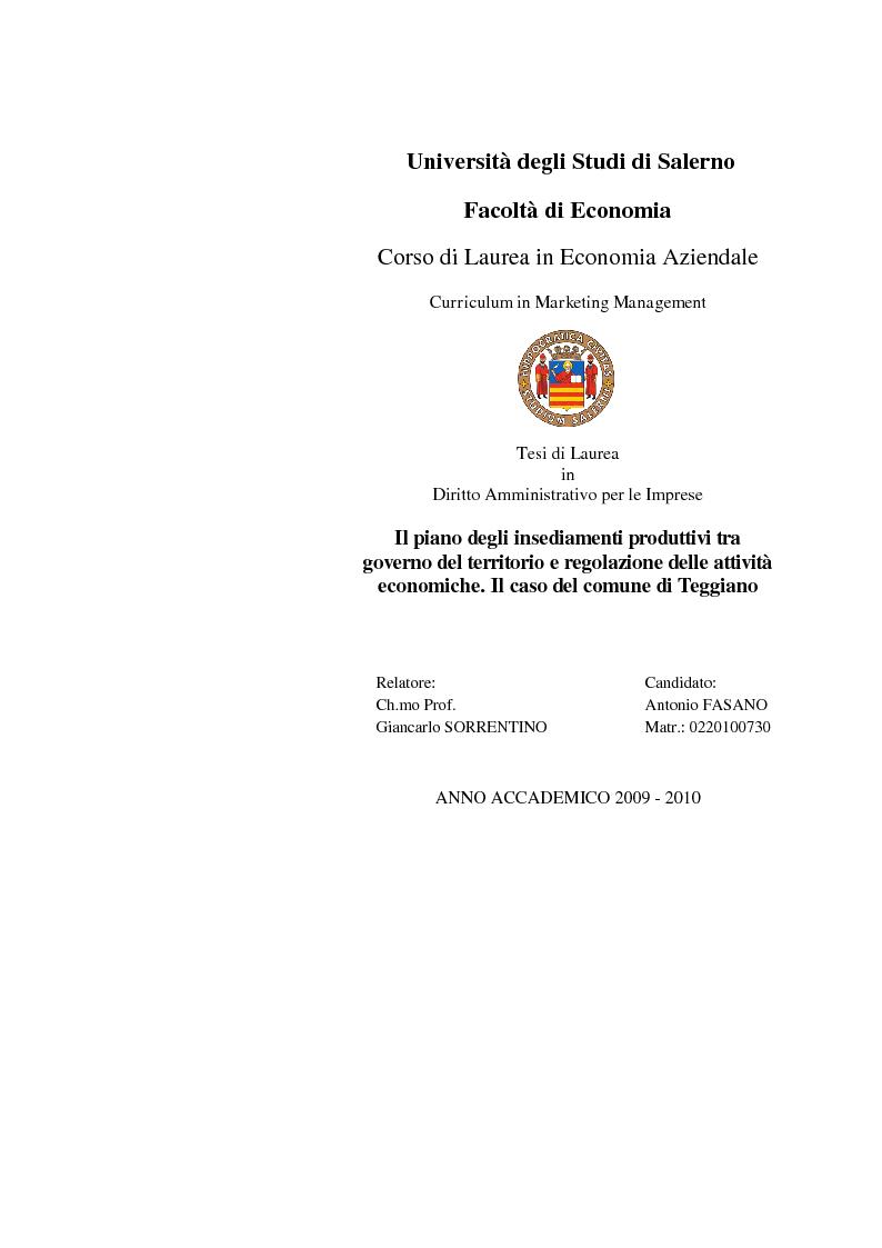 Anteprima della tesi: Il piano degli insediamenti produttivi tra governo del territorio e regolazione delle attività economiche. Il caso del comune di Teggiano, Pagina 1