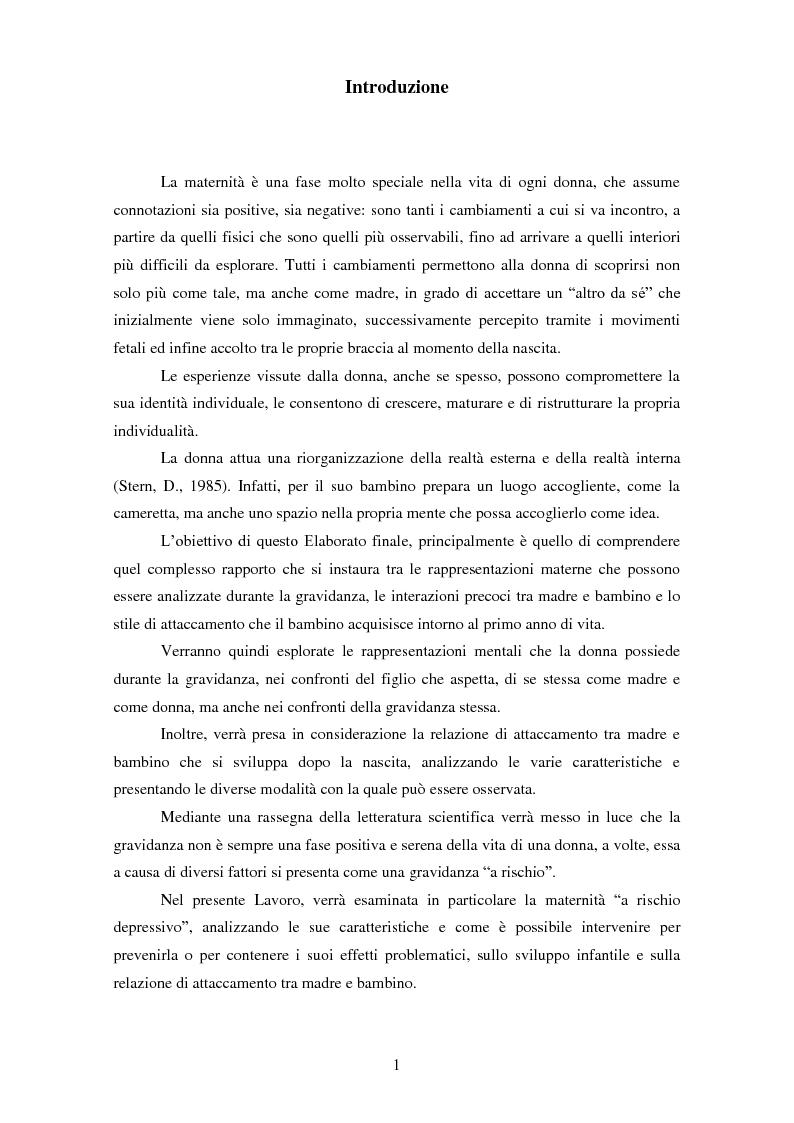 Anteprima della tesi: Le rappresentazioni mentali in gravidanza nella genitorialità tipica e ''a rischio'': strategie di prevenzione e di intervento precoce, Pagina 2