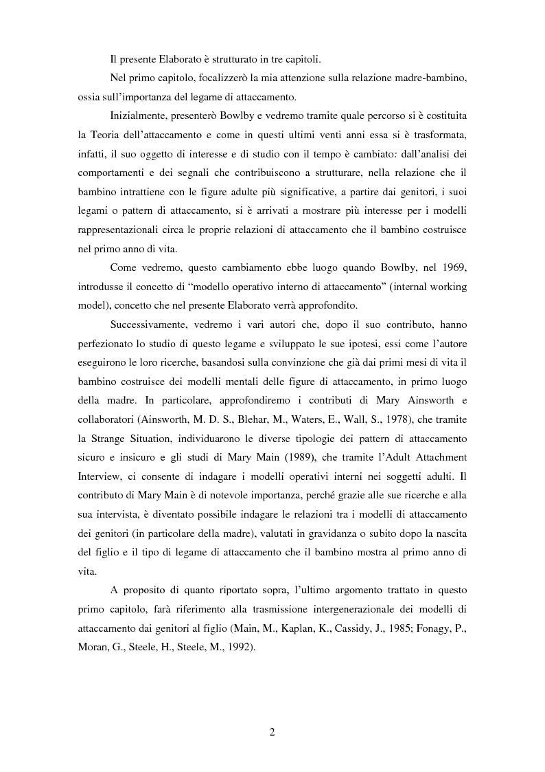 Anteprima della tesi: Le rappresentazioni mentali in gravidanza nella genitorialità tipica e ''a rischio'': strategie di prevenzione e di intervento precoce, Pagina 3