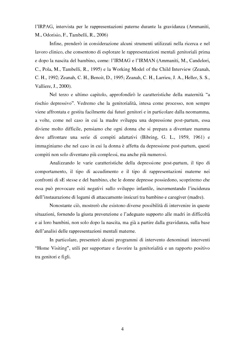Anteprima della tesi: Le rappresentazioni mentali in gravidanza nella genitorialità tipica e ''a rischio'': strategie di prevenzione e di intervento precoce, Pagina 5