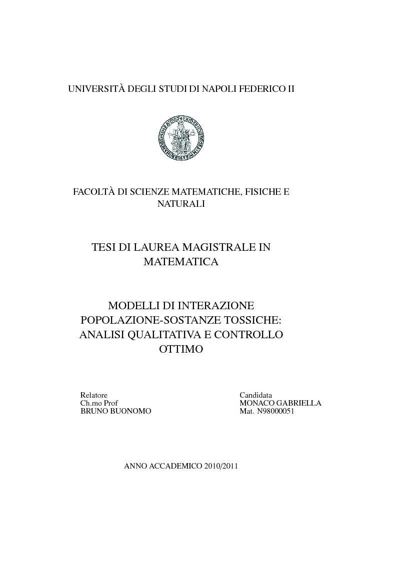 Anteprima della tesi: Modelli di interazione popolazione sostanze tossiche: analisi qualitativa e controllo ottimo, Pagina 1