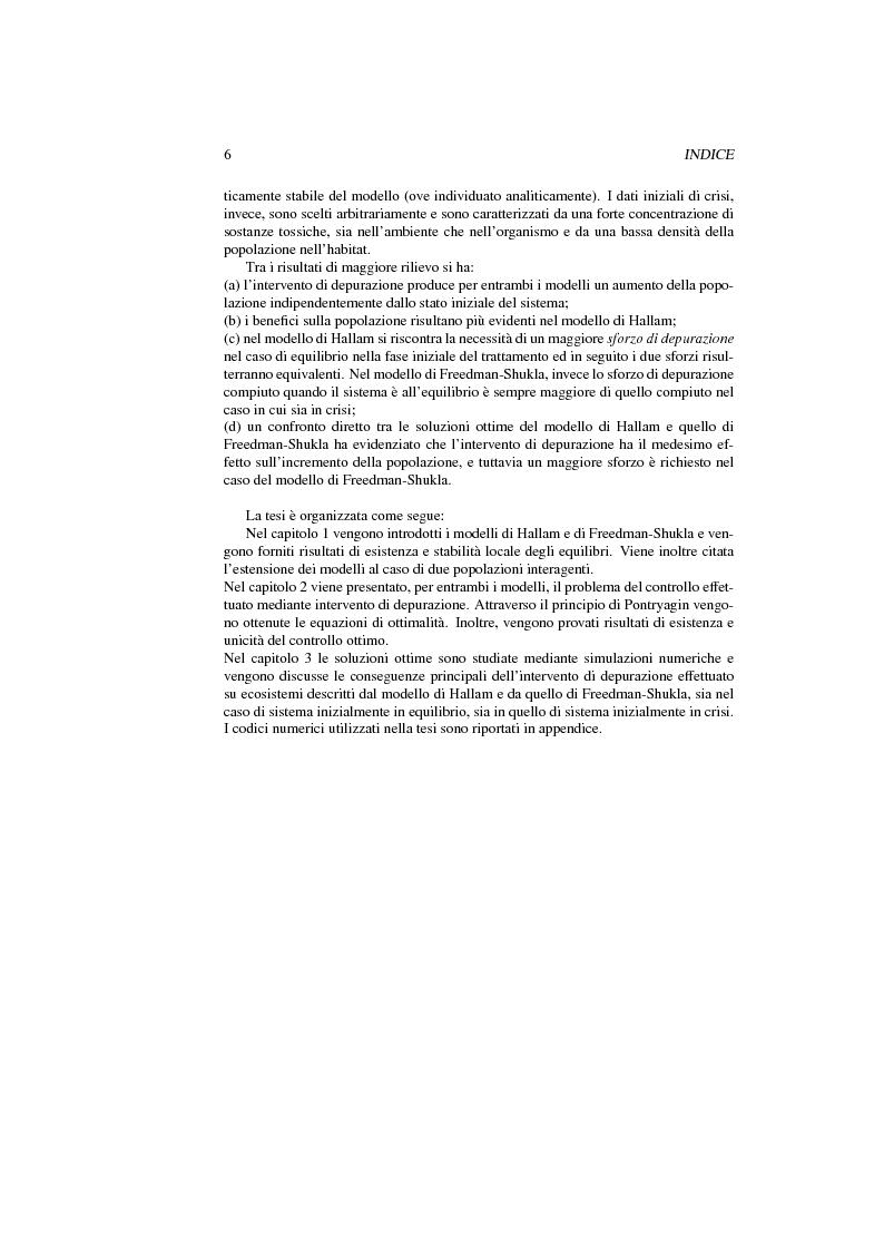 Anteprima della tesi: Modelli di interazione popolazione sostanze tossiche: analisi qualitativa e controllo ottimo, Pagina 3