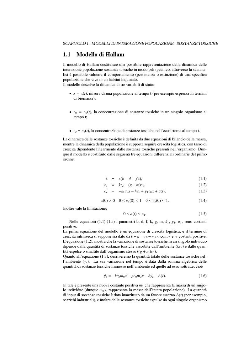 Anteprima della tesi: Modelli di interazione popolazione sostanze tossiche: analisi qualitativa e controllo ottimo, Pagina 5