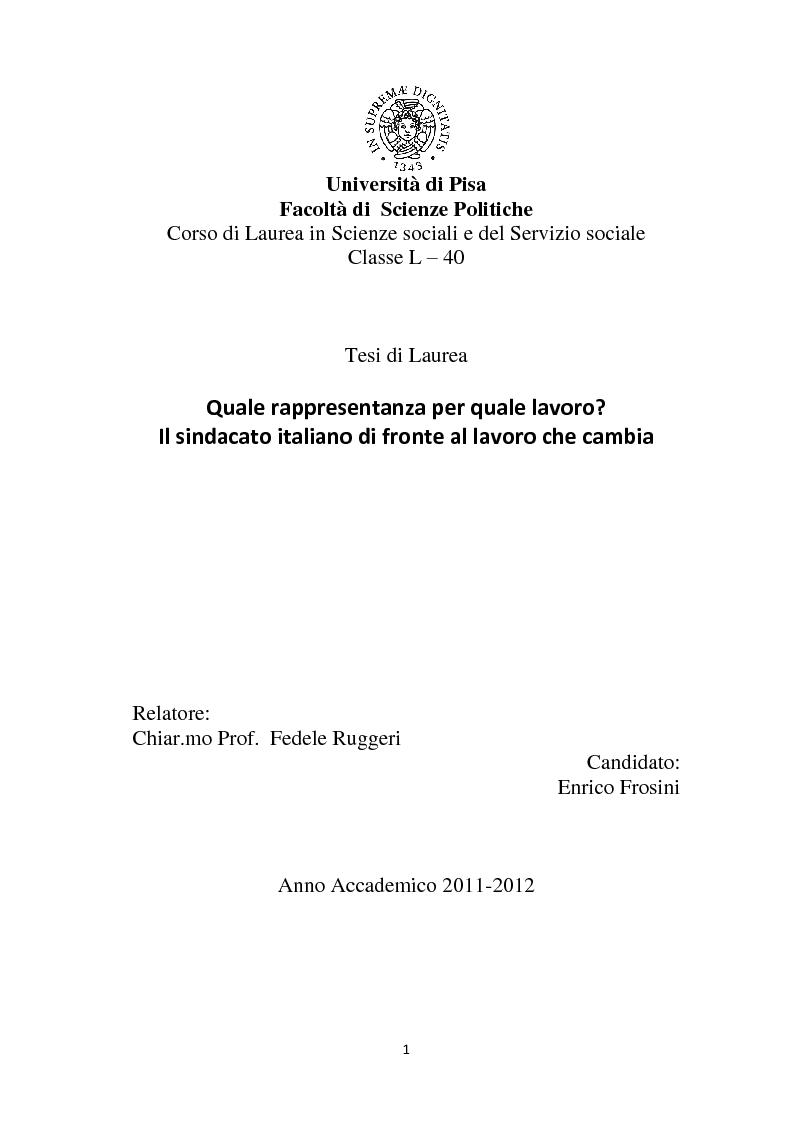 Anteprima della tesi: Quale rappresentanza per quale lavoro? Il sindacato italiano di fronte al lavoro che cambia., Pagina 1