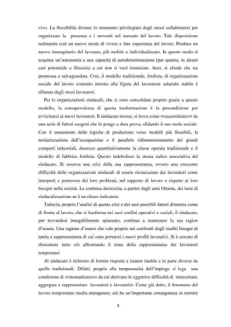 Anteprima della tesi: Quale rappresentanza per quale lavoro? Il sindacato italiano di fronte al lavoro che cambia., Pagina 4