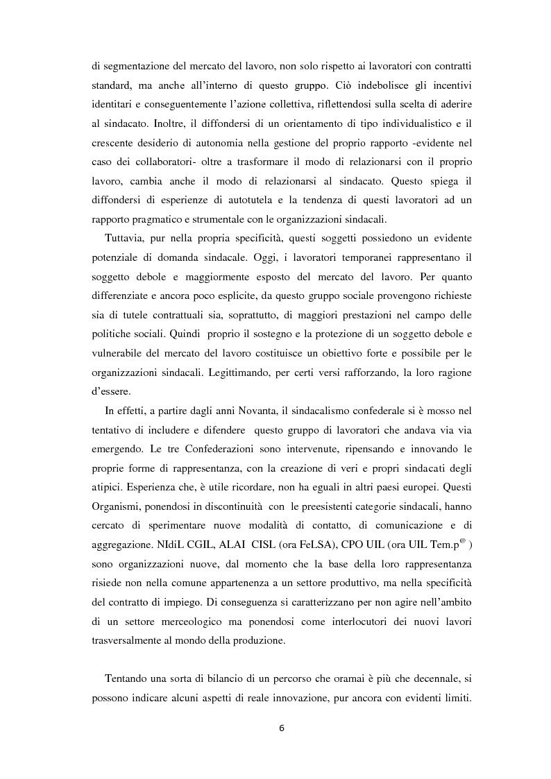Anteprima della tesi: Quale rappresentanza per quale lavoro? Il sindacato italiano di fronte al lavoro che cambia., Pagina 5