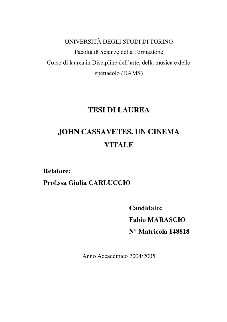 Anteprima della tesi: John Cassavetes. Un cinema vitale., Pagina 1