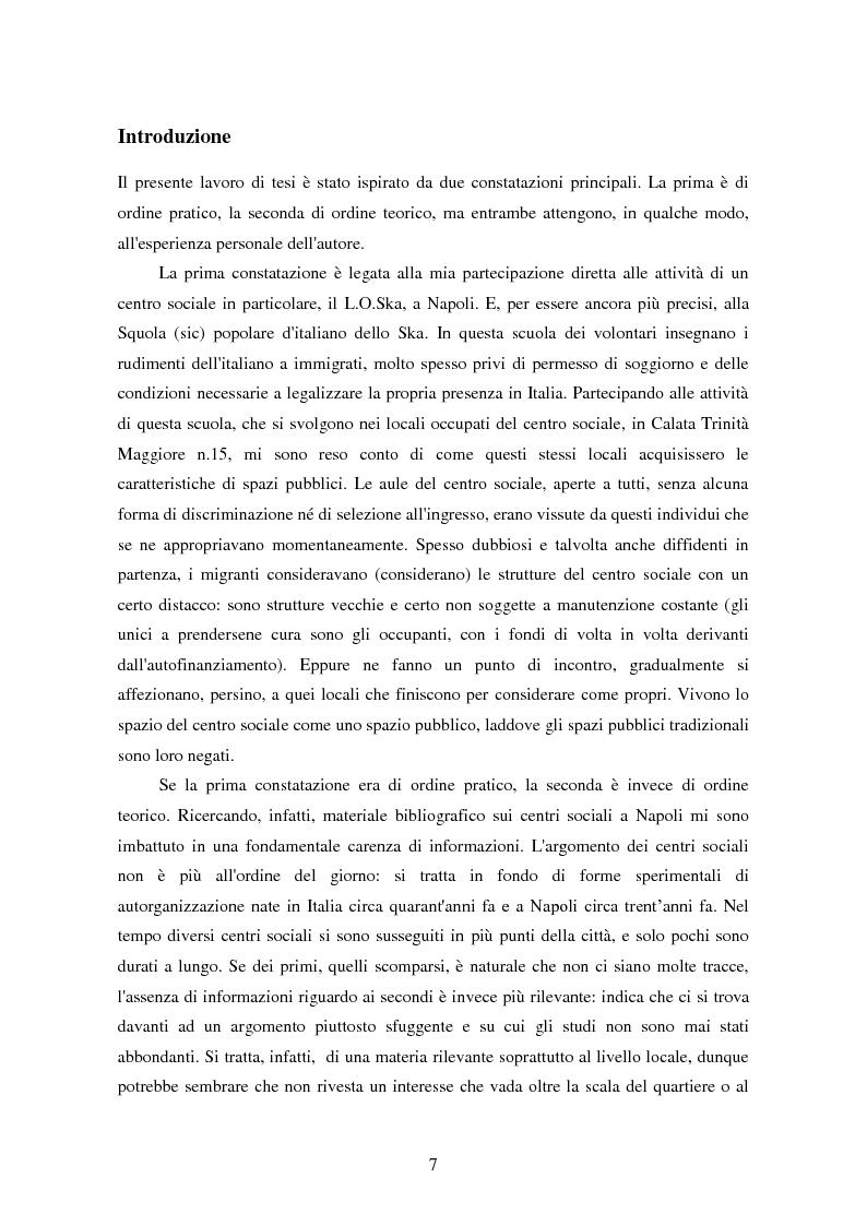 Anteprima della tesi: I centri sociali a Napoli: analisi di uno spazio pubblico, Pagina 2