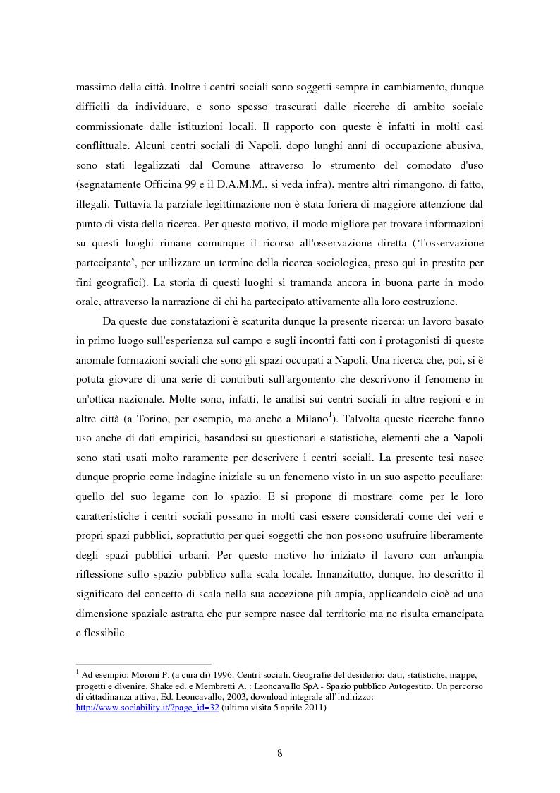 Anteprima della tesi: I centri sociali a Napoli: analisi di uno spazio pubblico, Pagina 3
