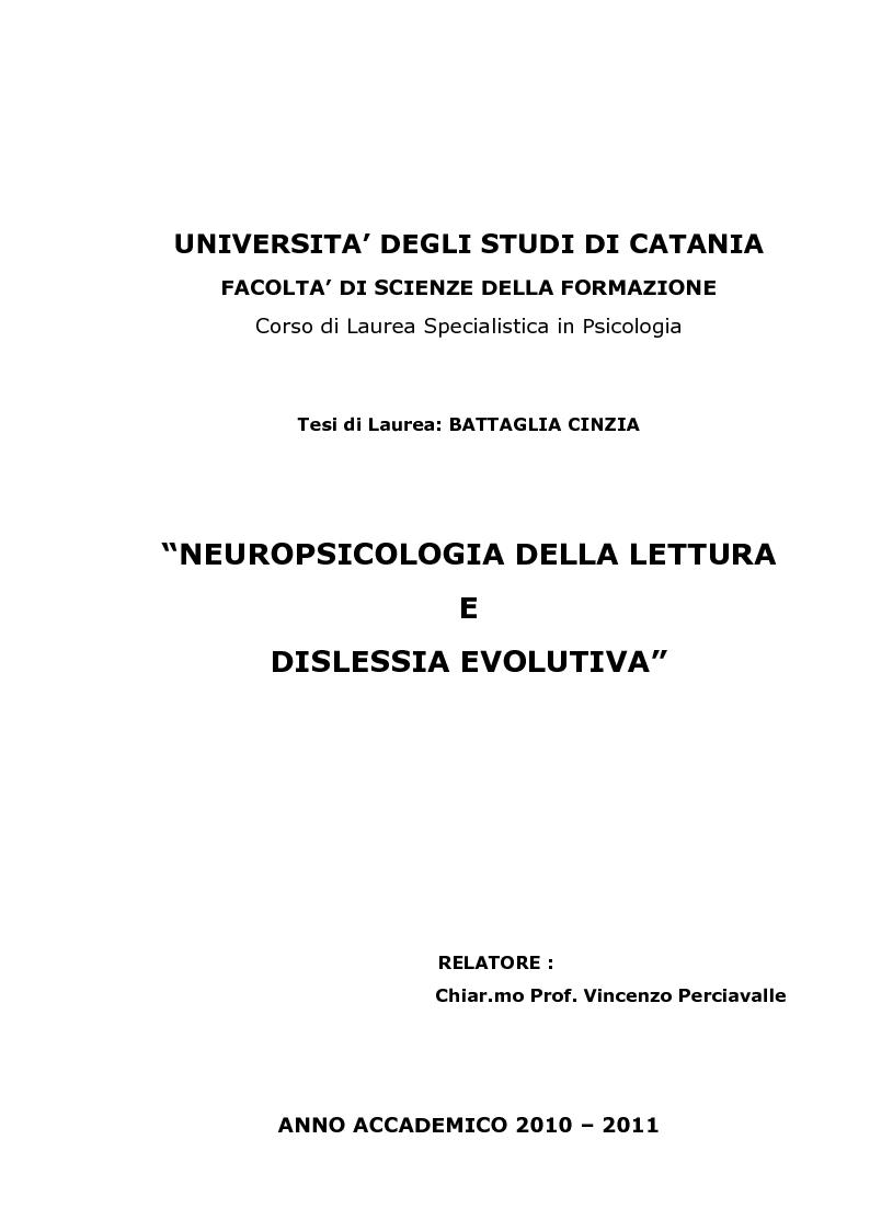 Anteprima della tesi: Neuropsicologia della lettura e dislessia evolutiva, Pagina 1