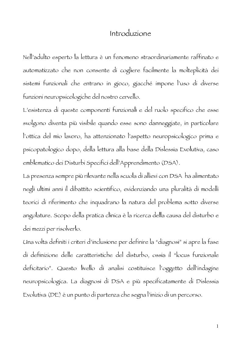 Anteprima della tesi: Neuropsicologia della lettura e dislessia evolutiva, Pagina 2