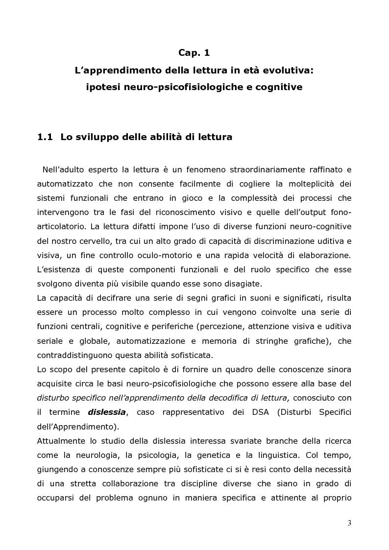 Anteprima della tesi: Neuropsicologia della lettura e dislessia evolutiva, Pagina 4