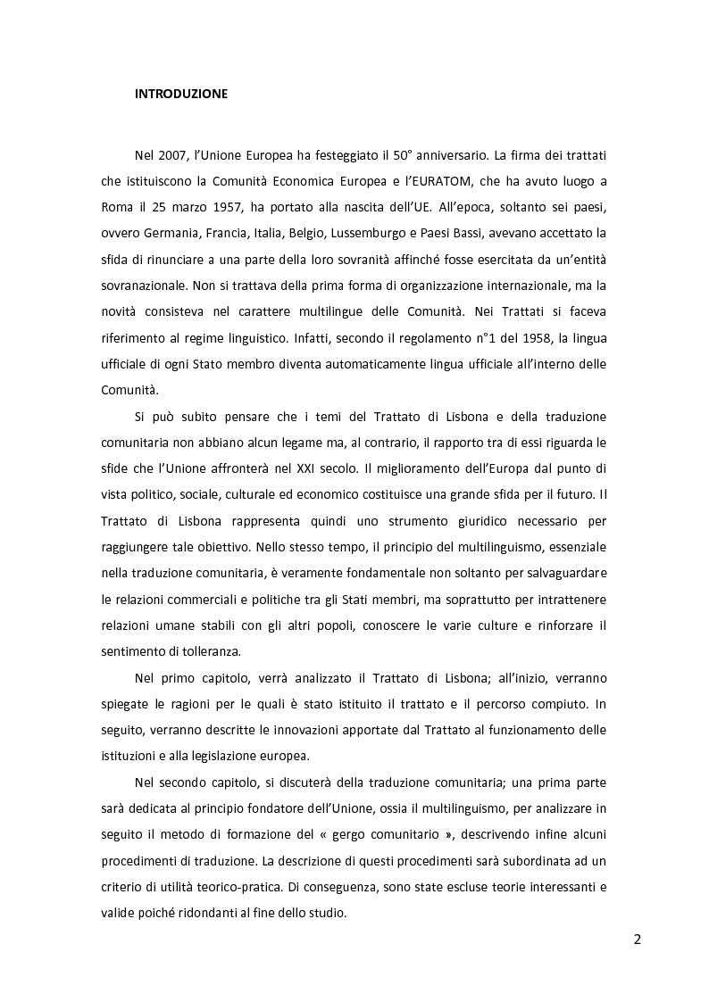 Anteprima della tesi: Il Trattato di Lisbona e la traduzione comunitaria, Pagina 2