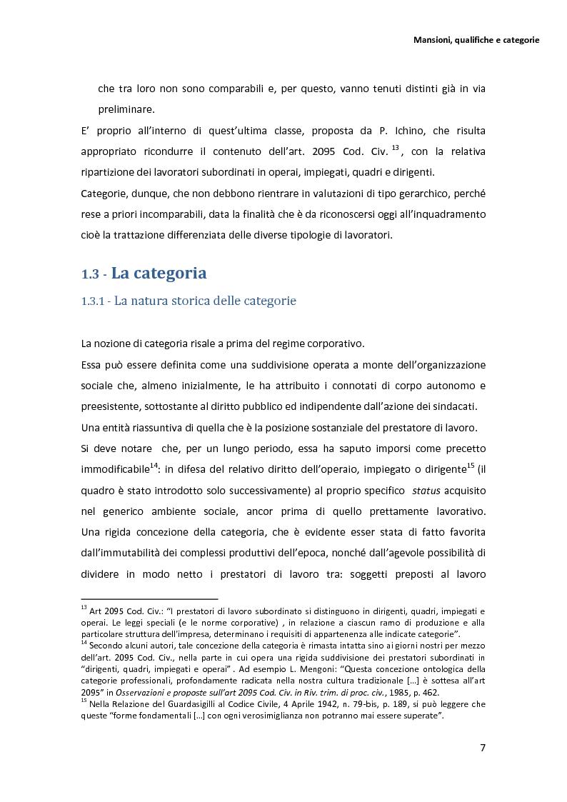 Anteprima della tesi: La disciplina delle mansioni nel lavoro subordinato privato: il quadro normativo e l'interpretazione giurisprudenziale , Pagina 11
