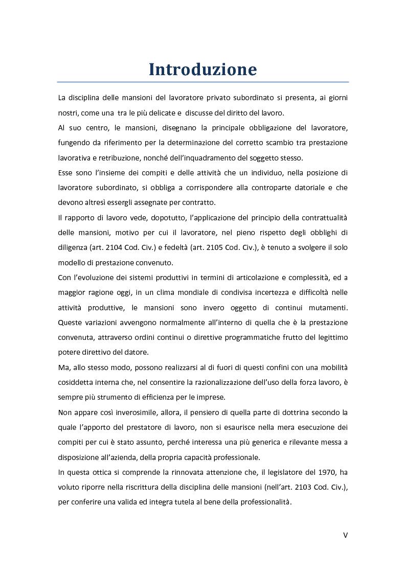 Anteprima della tesi: La disciplina delle mansioni nel lavoro subordinato privato: il quadro normativo e l'interpretazione giurisprudenziale , Pagina 2