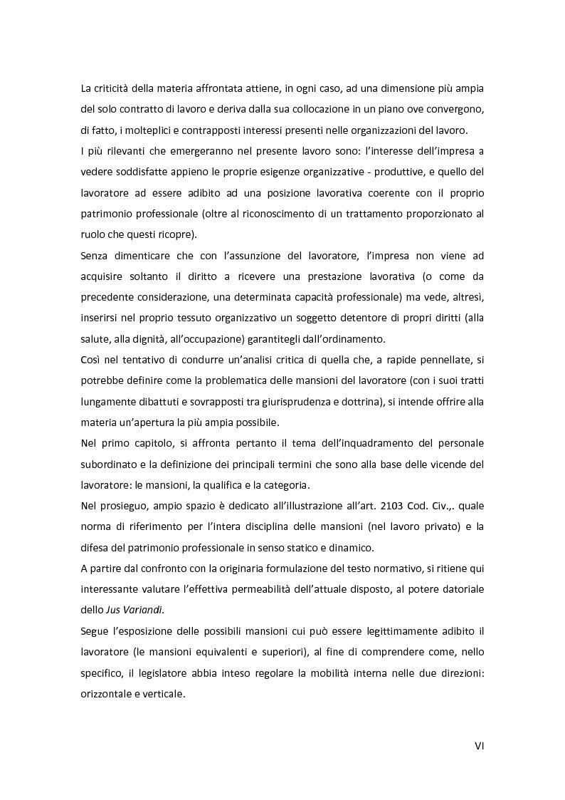 Anteprima della tesi: La disciplina delle mansioni nel lavoro subordinato privato: il quadro normativo e l'interpretazione giurisprudenziale , Pagina 3