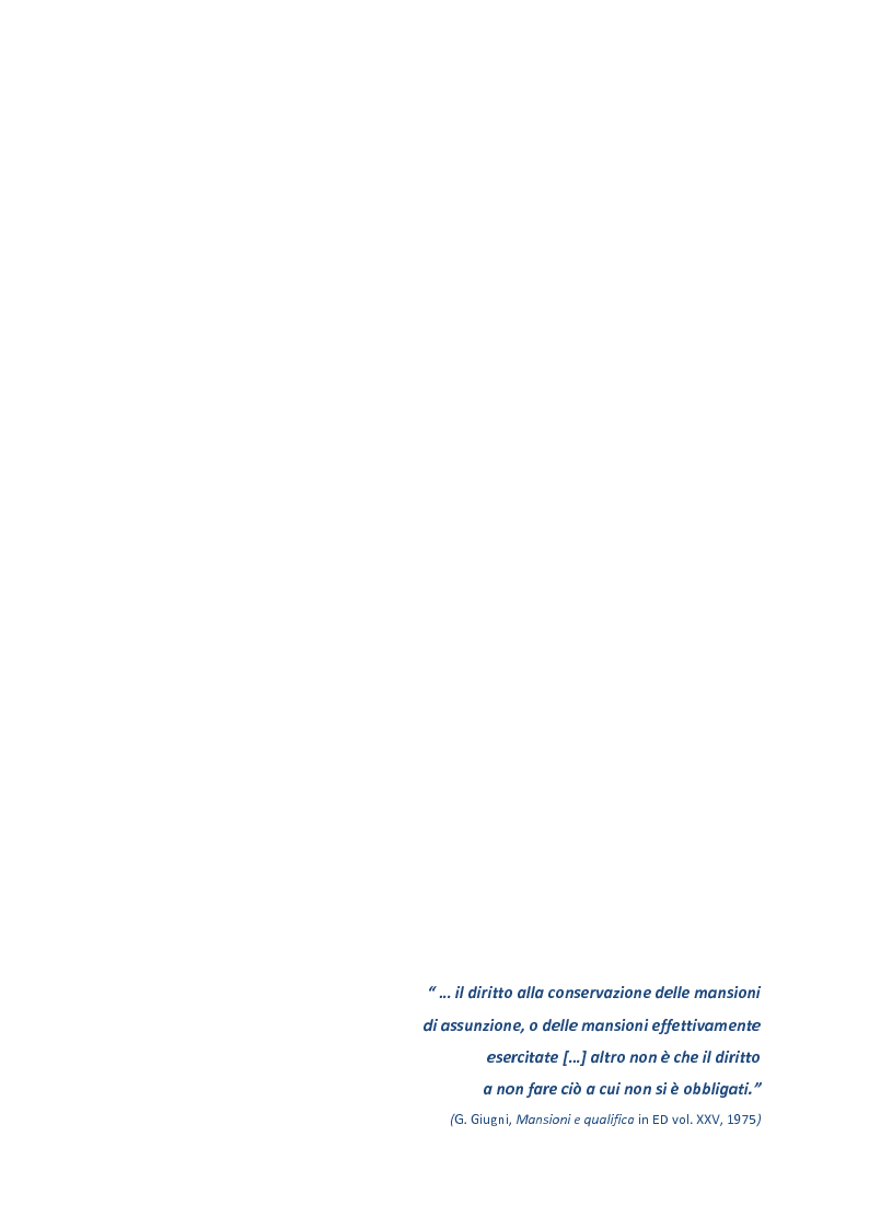 Anteprima della tesi: La disciplina delle mansioni nel lavoro subordinato privato: il quadro normativo e l'interpretazione giurisprudenziale , Pagina 5