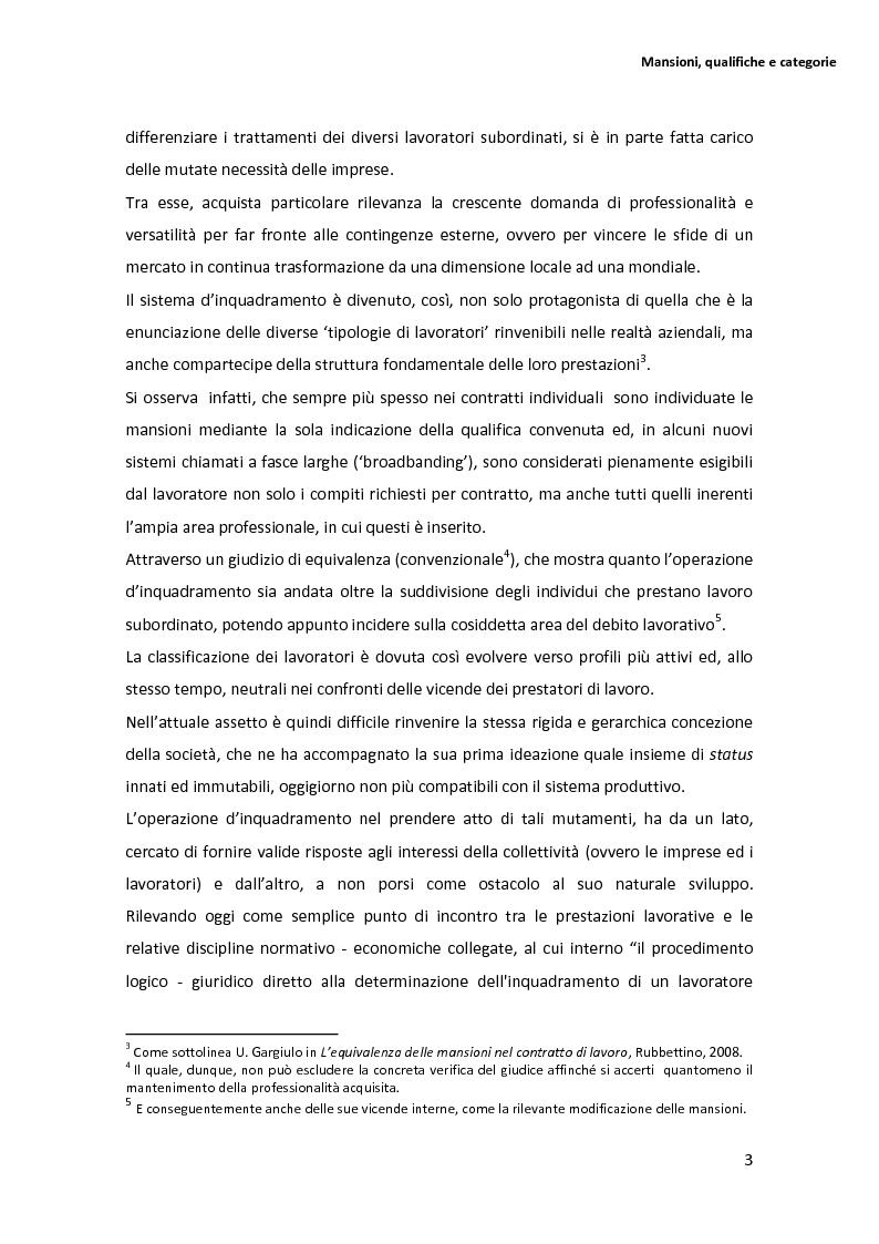 Anteprima della tesi: La disciplina delle mansioni nel lavoro subordinato privato: il quadro normativo e l'interpretazione giurisprudenziale , Pagina 7