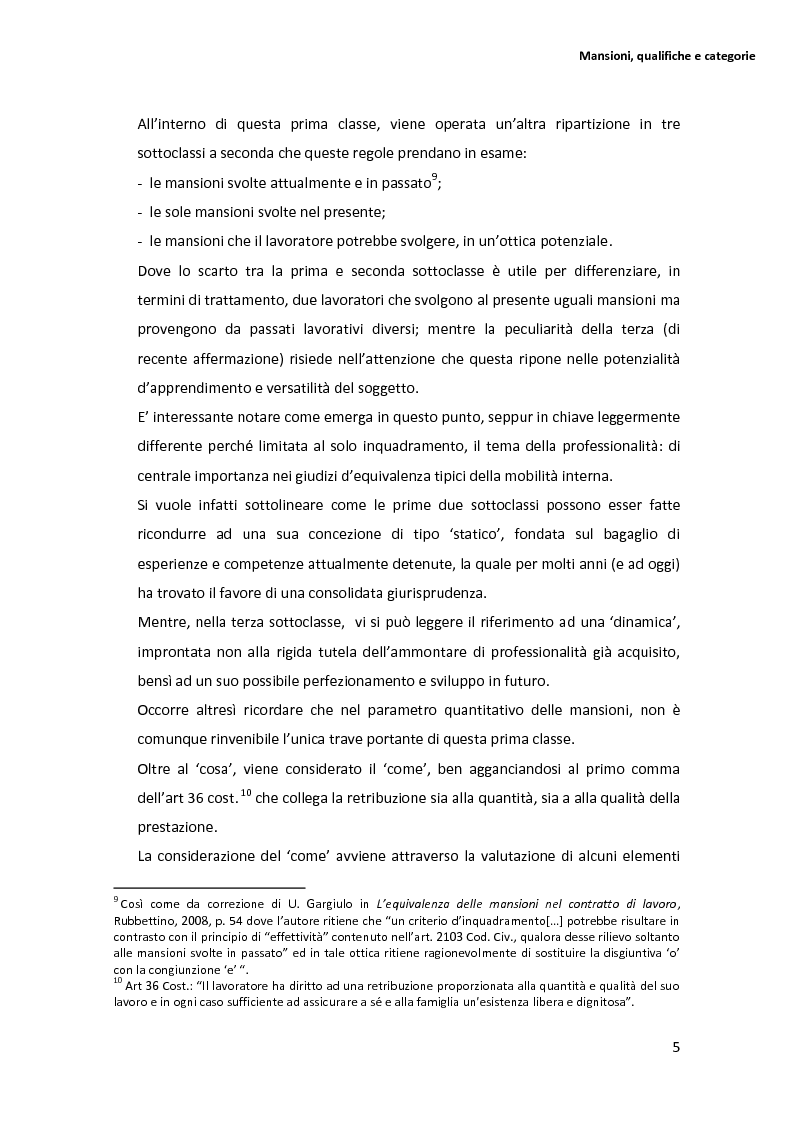 Anteprima della tesi: La disciplina delle mansioni nel lavoro subordinato privato: il quadro normativo e l'interpretazione giurisprudenziale , Pagina 9