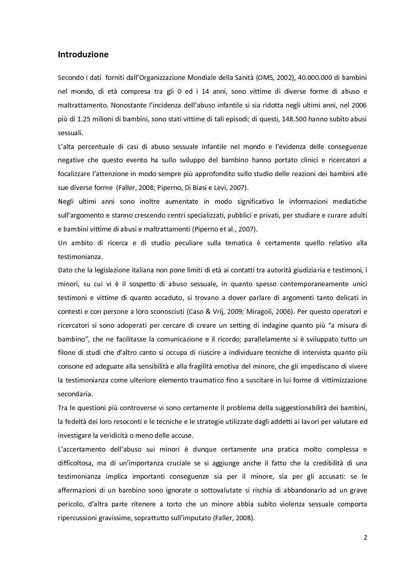 Anteprima della tesi: La complessità dell'accertamento dell'abuso sessuale sui minori: l'utilizzo del disegno come ausilio nella testimonianza., Pagina 2