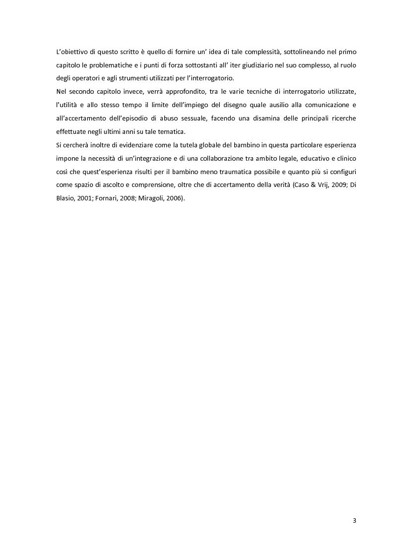Anteprima della tesi: La complessità dell'accertamento dell'abuso sessuale sui minori: l'utilizzo del disegno come ausilio nella testimonianza., Pagina 3