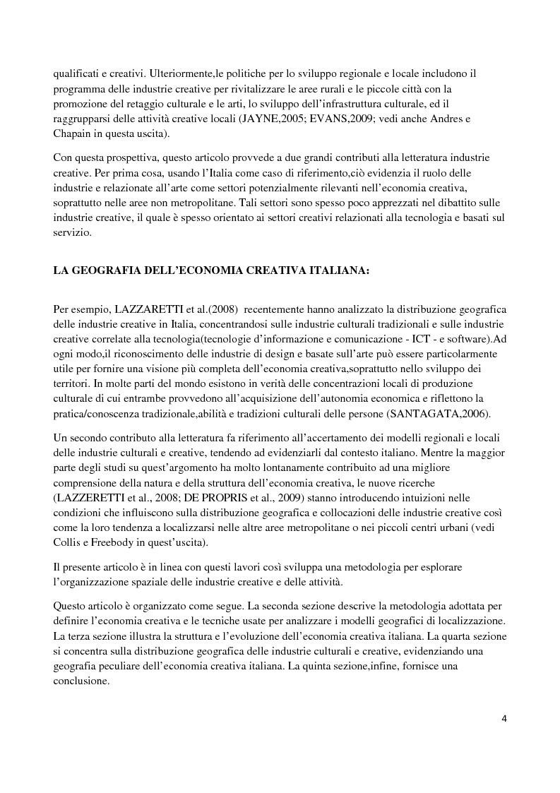Anteprima della tesi: La geografia dell'economia creativa italiana, Pagina 3