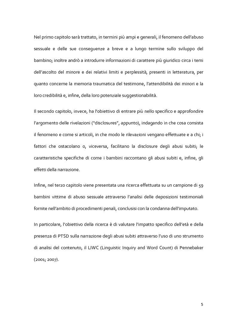 Anteprima della tesi: Il racconto del trauma: fattori che influenzano la disclosure nel caso di abuso sessuale infantile, Pagina 3