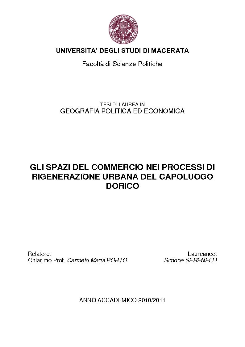 Anteprima della tesi: Gli spazi del commercio nei processi di rigenerazione urbana del capoluogo dorico, Pagina 1